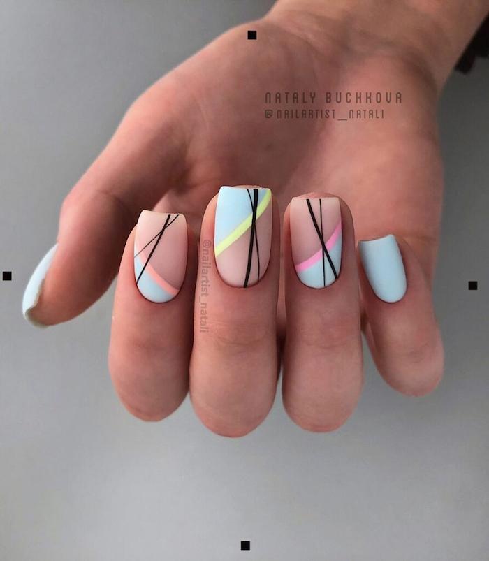 nude and blue matte nail polish, bright nail colors, abstract lines decorations, short square nails
