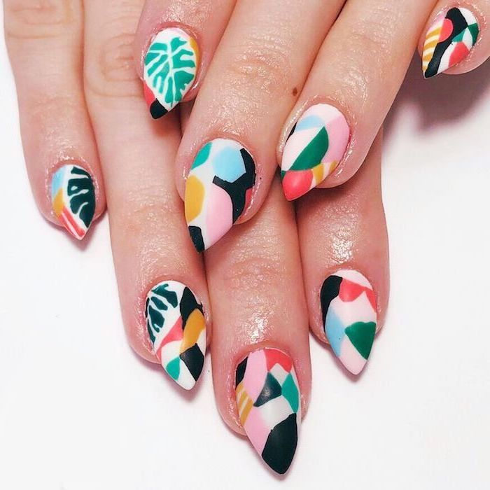 medium length stiletto nails, bright nail colors, white and pink matte nail polish, abstract decorations