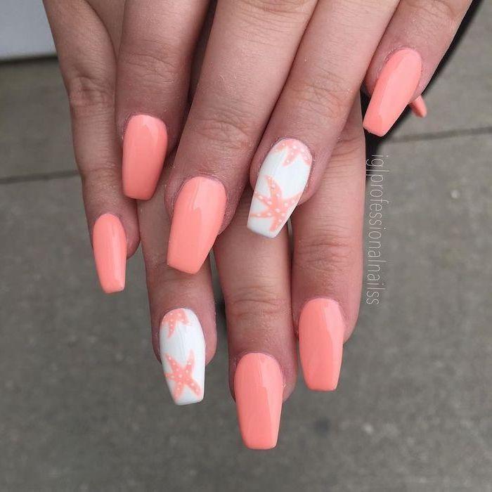 orange and white nail polish, bright nail colors, sea stars decorations, long square nails