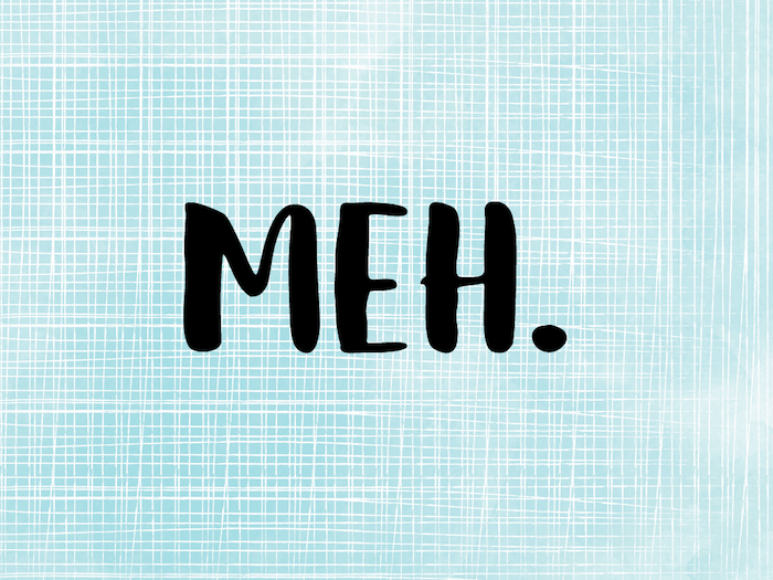 meh written with large letters dot at the end with black letters weird wallpapers blue white background