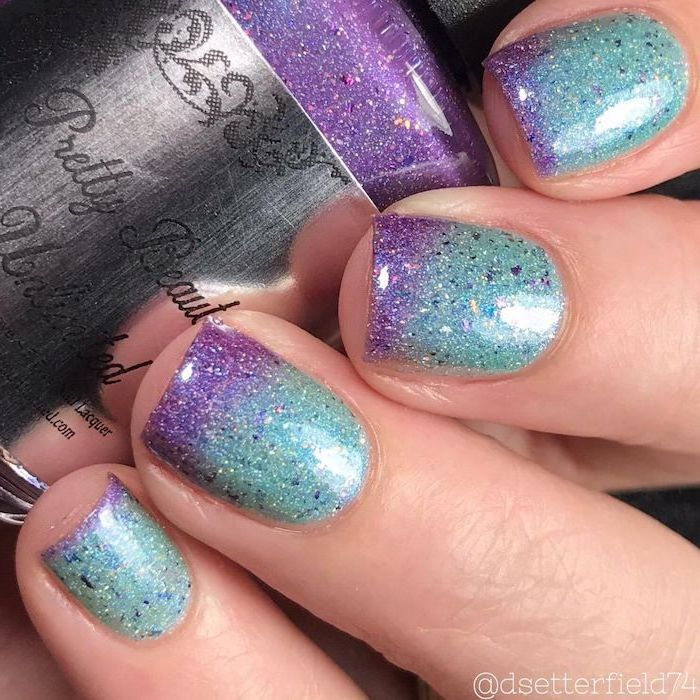 blue and purple glitter nail polish, ombre nails, nail ideas 2020, mermaid nails