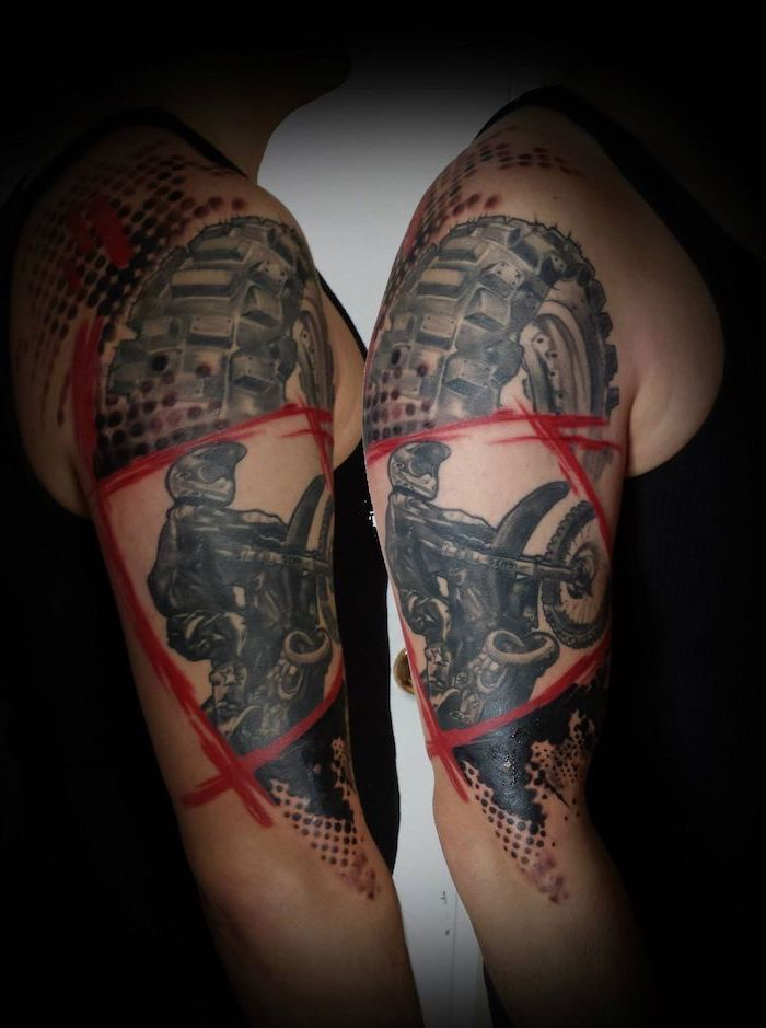 motorist on bike trash polka sleeve red strokes large tire shouder tattoo side by side photos