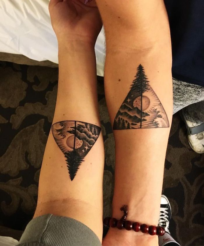 mountain landscape with lake and forest during day an night brother and sister matching tattoos forearm tattoos