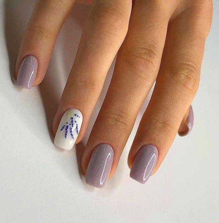 grey glitter nail polish, nail ideas 2020, medium length square nails, lavenders decorations