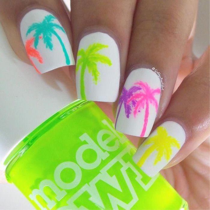 white nail polish, medium length square nails, cute nail ideas, palm trees decorations, neon nail polish