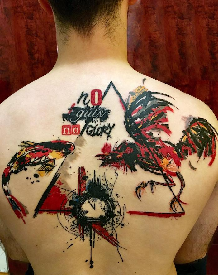 no guts no glory realistic trash polka style tattoo rooster fish in red black orange back tattoo