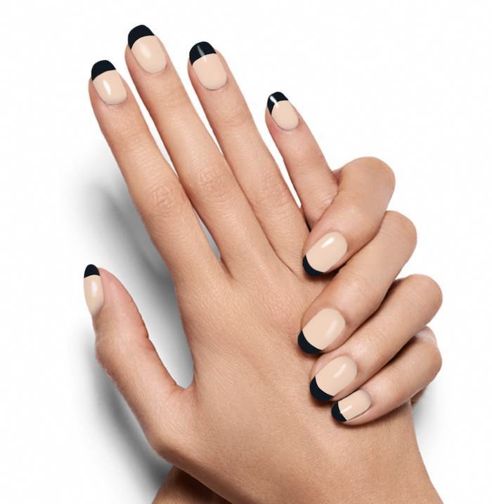 acrylic nail colors, nude nail polish, black french tips, short squoval nails, white background