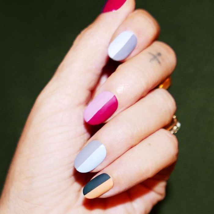 ombre nails, nail ideas 2020, yellow and black, white and grey, red and pink, matte nail polish
