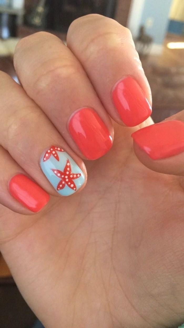 orange and blue nail polish, pretty nail designs, sea stars decorations, short squoval nails