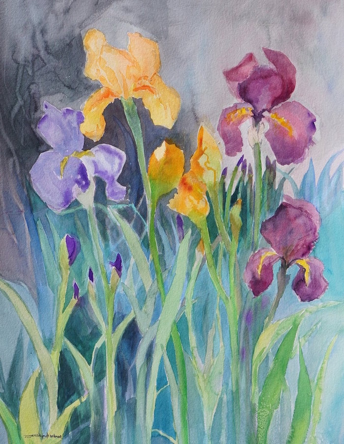orchids in purple and orange, how to use watercolor paint, black and blue watercolor background