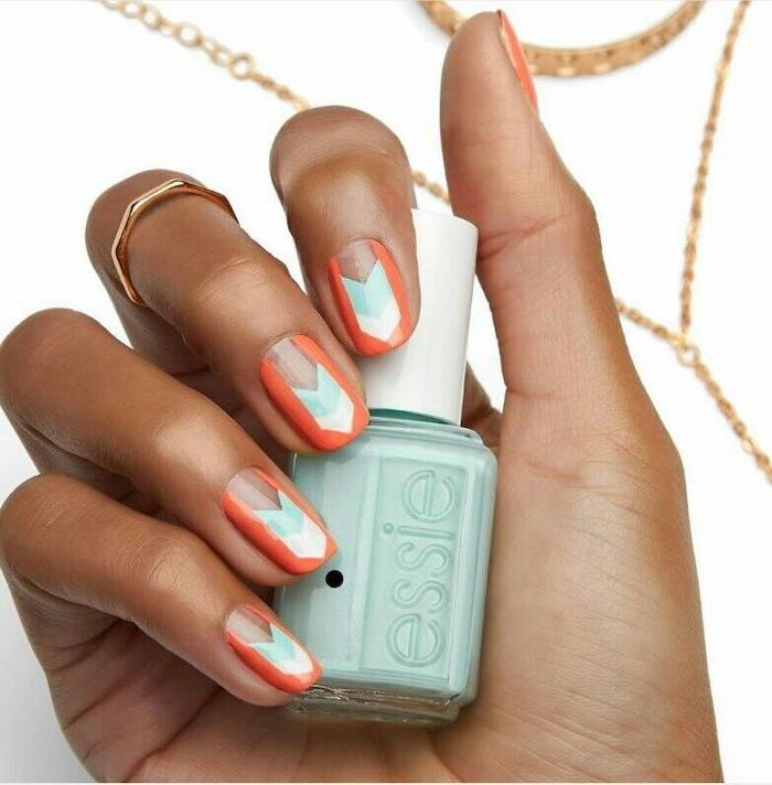 orange and blue nail polish, pretty nail designs, abstract decorations, short squoval nails
