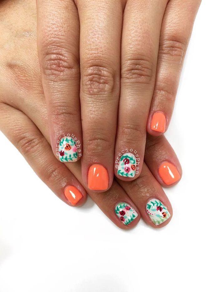 orange nail polish, short square nails, acrylic nail colors, flowers decorations, white background