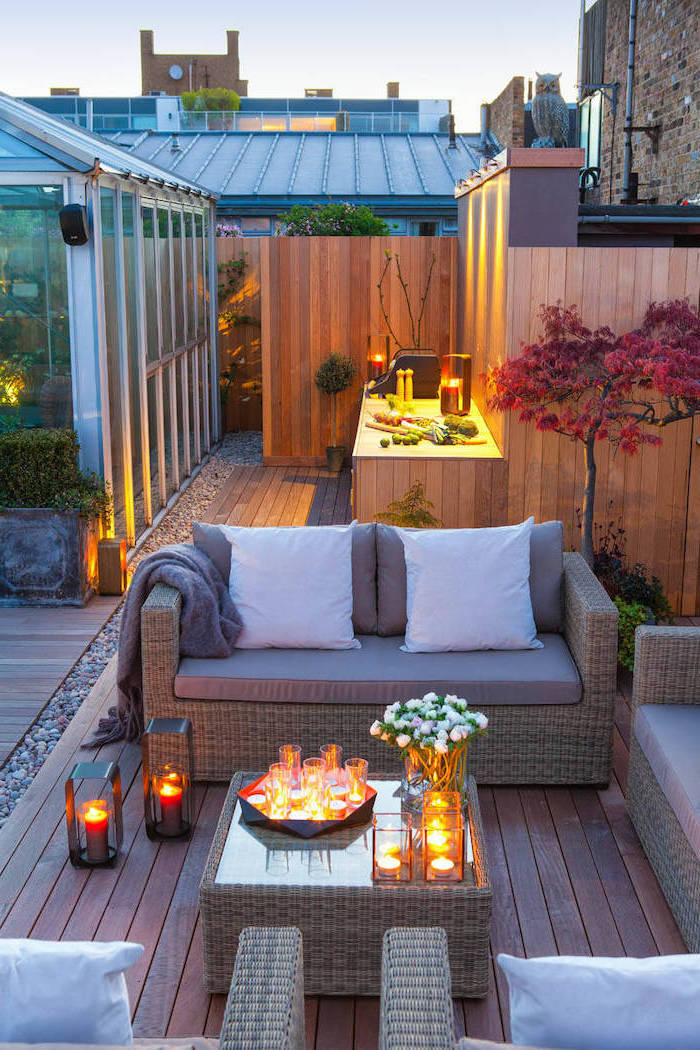 outdoor bbq ideas sofas and armchairs with grey cushions wooden kitchen cabinets with white countertop and grill