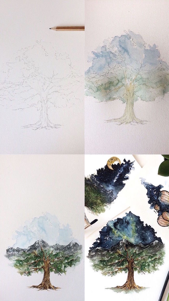 step by step diy tutorial, simple watercolor ideas, how to draw a tree, four step tutorial, galaxy sky inside it