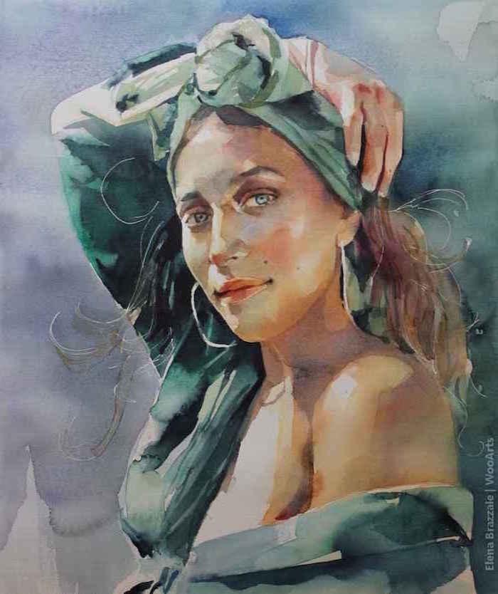 brunette woman, wearing green dress, green headband, simple watercolor ideas, blue green watercolor background