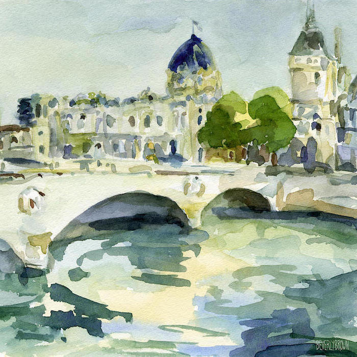 paris landscape, how to paint with watercolors, bridge over a river, buildings in the background