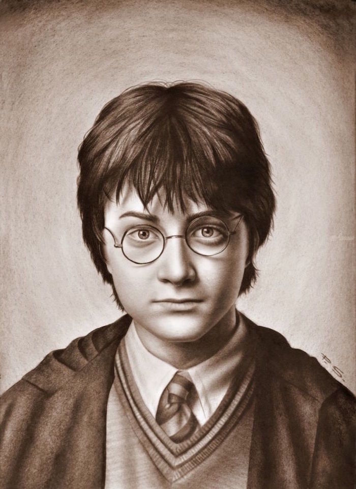 how to draw harry potter characters, black and white pencil drawing, realistic portrait drawing