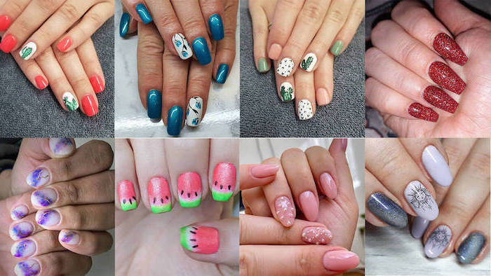 pretty nail designs, photo collage of different nail designs, nails with different shapes and colors