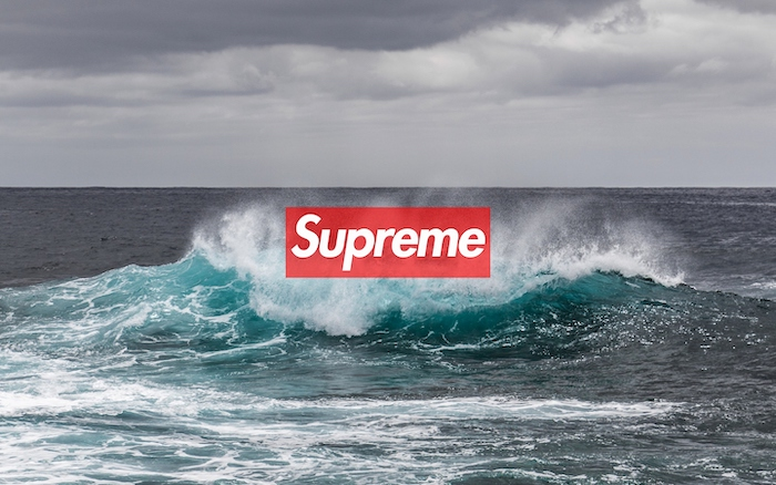 photo of an ocean wave cool wallpapers supreme logo of supreme in red and white at the center