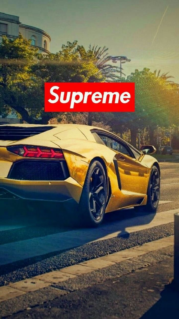 photo of golden lamborghini on the street supreme wallpaper hd supreme log in red and white