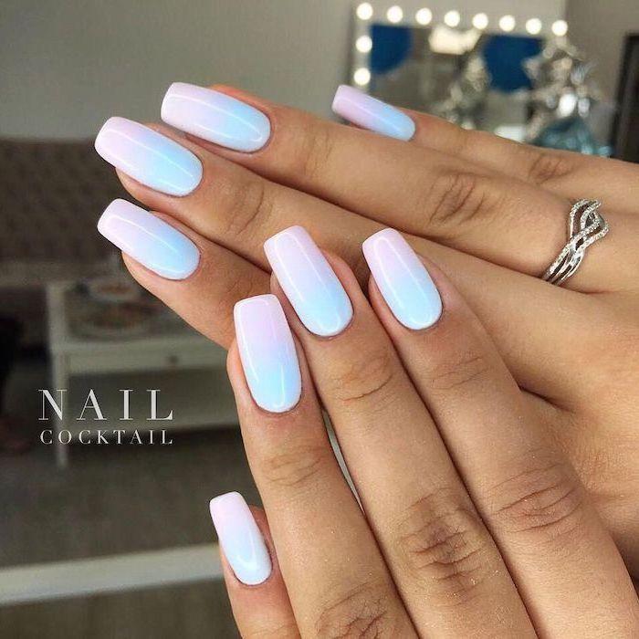 pink and blue nail polish, medium length squoval nails, pretty nail designs, ombre nails