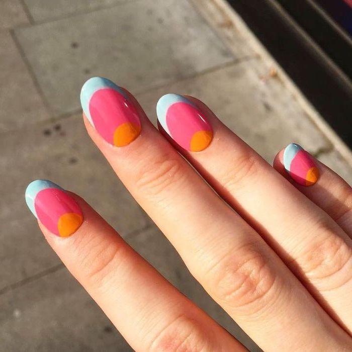orange and pink nail polish, blue french tips, cute acrylic nail ideas, short squoval nails
