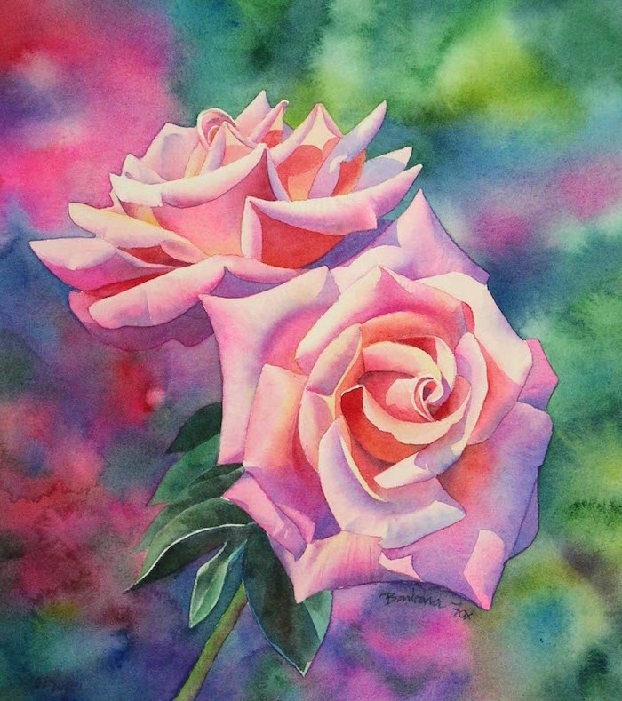 two pink roses, close up painting, how to paint with watercolors, abstract watercolor background in different colors