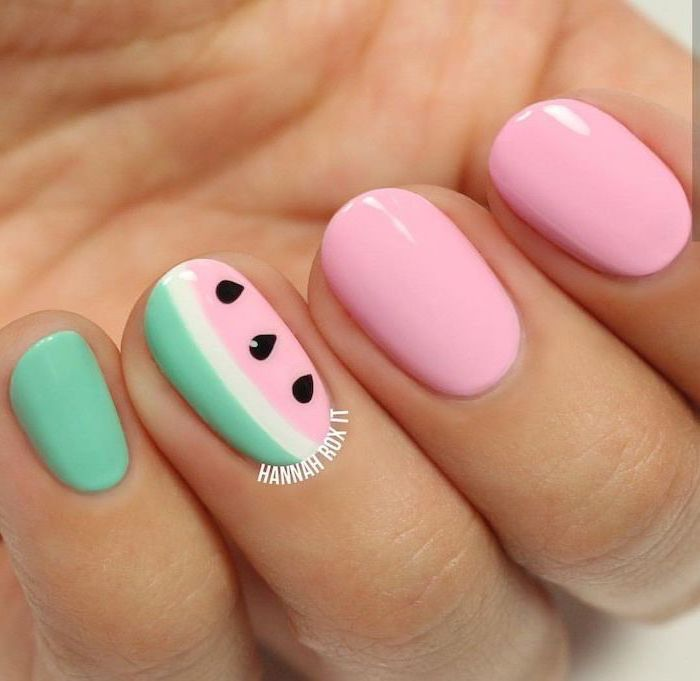 short squoval nails, pink and turquoise nail polish, watermelon decorations, blue nail designs, ombre nails