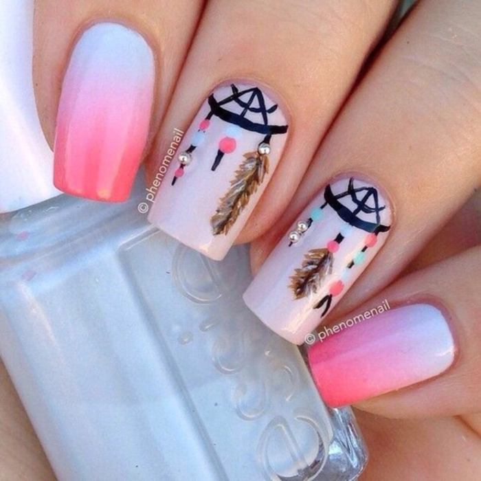 pink and blue nail polish, ombre nails, cute acrylic nail ideas, dreamcatchers decorations
