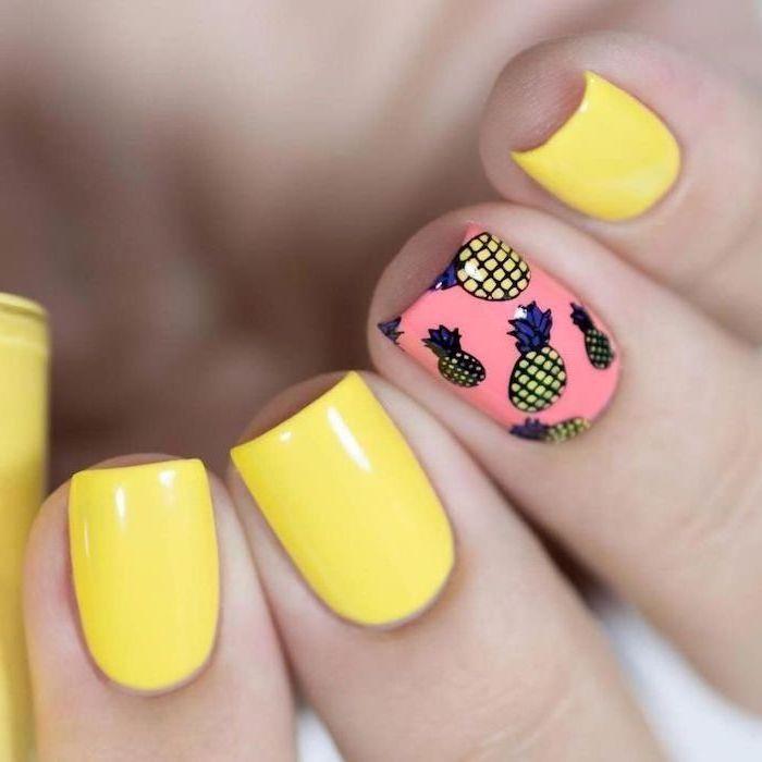 yellow and pink nail polish, blue nail designs, pineapples decorations, short square nails