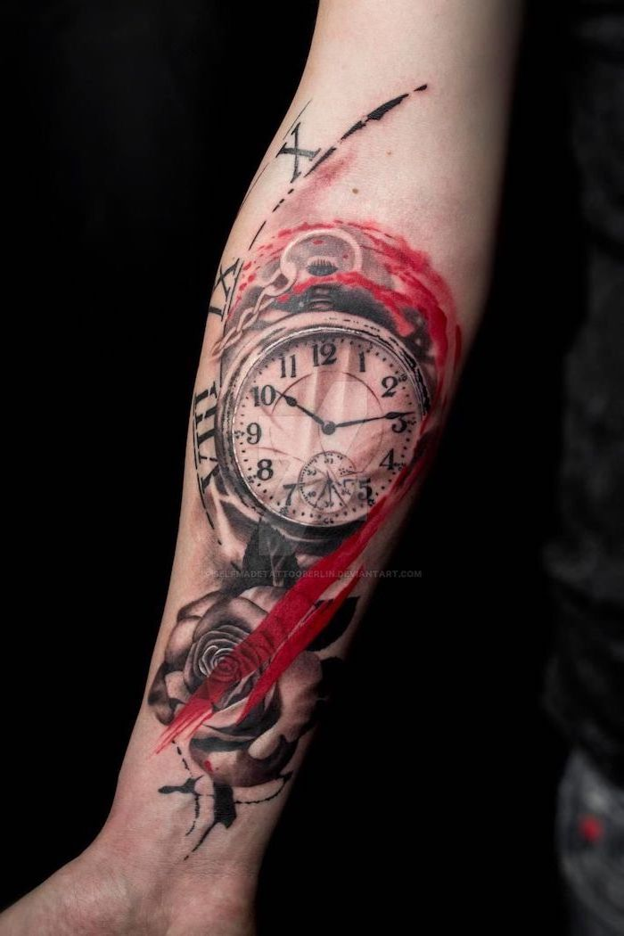 pocket watch surrounded by rose red lines realistic trash polka tattoos roman numerals