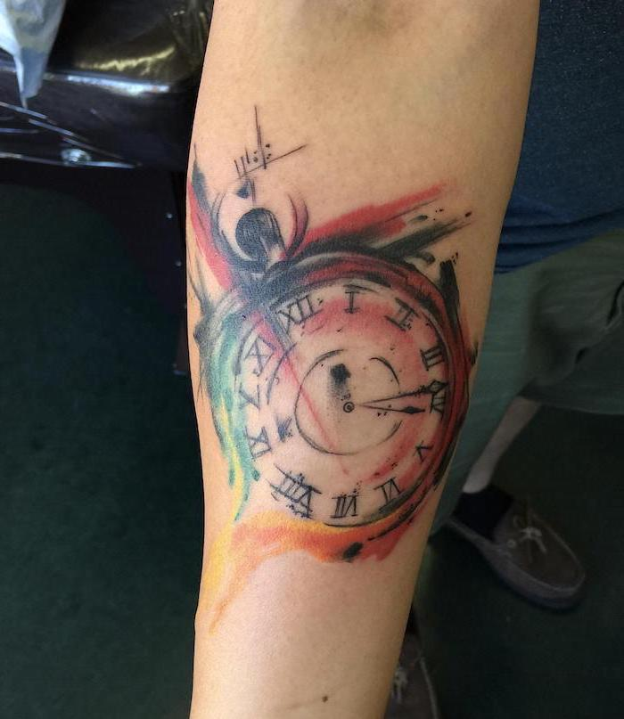 pocketwatch with roman numerals trash polka tattoo watercolor tattoo forearm tattoo