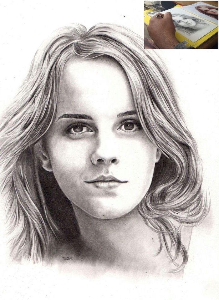realistic portrait drawing, hermione granger, how to draw harry potter characters, black and white pencil drawing