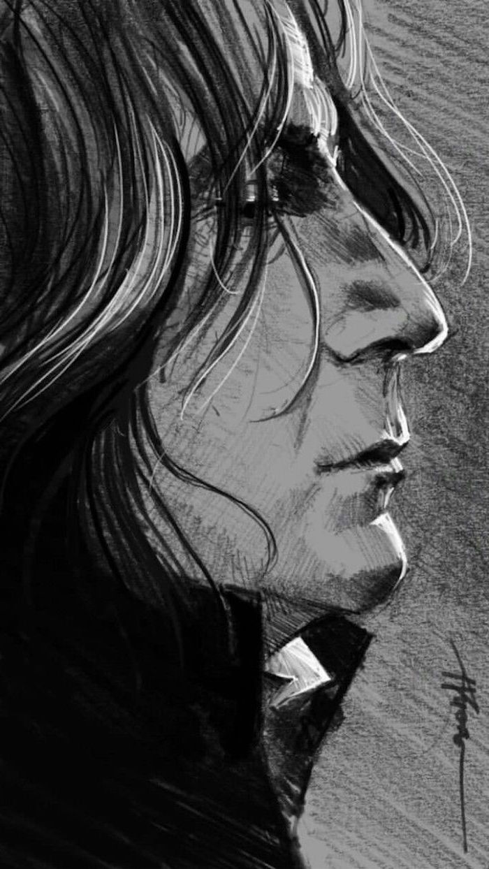 severus snape, realistic drawing, how to draw harry potter characters, black and white pencil drawing