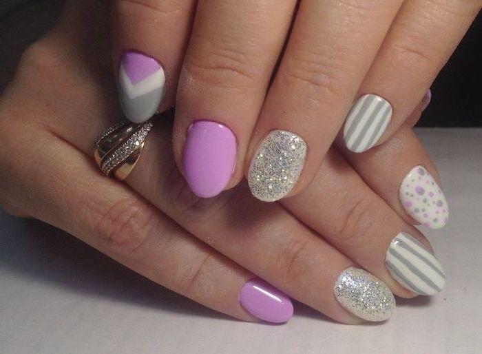 pink and grey nail polish, short squoval nails, silver glitter nail polish, cute acrylic nail ideas