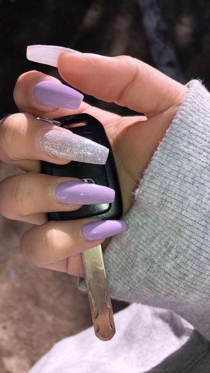 purple nail polish, silver glitter nail polish, long coffin nails, summer coffin nails
