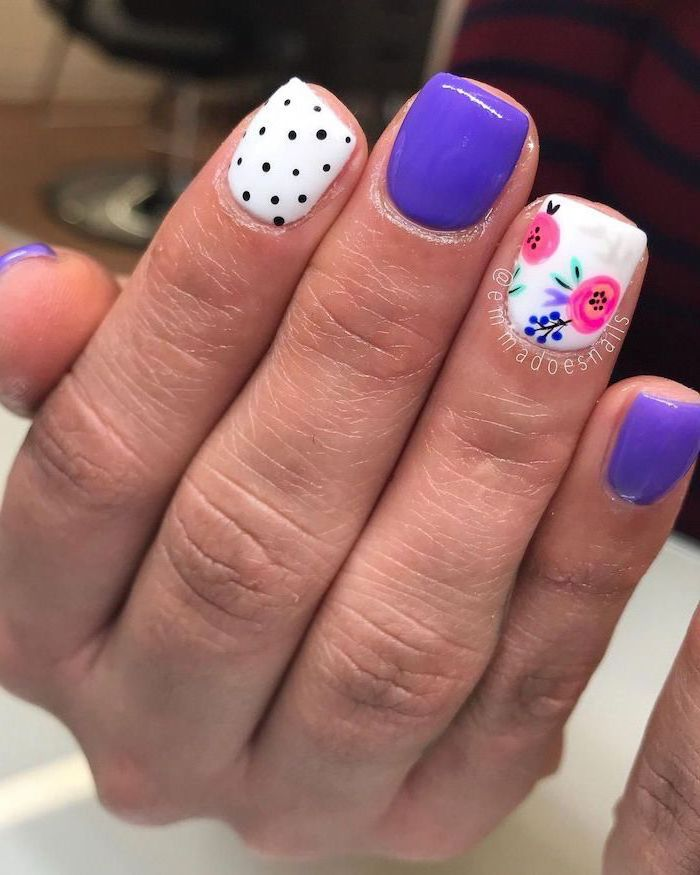 summer coffin nails, white and purple nail polish, pink flower decorations, short square nails