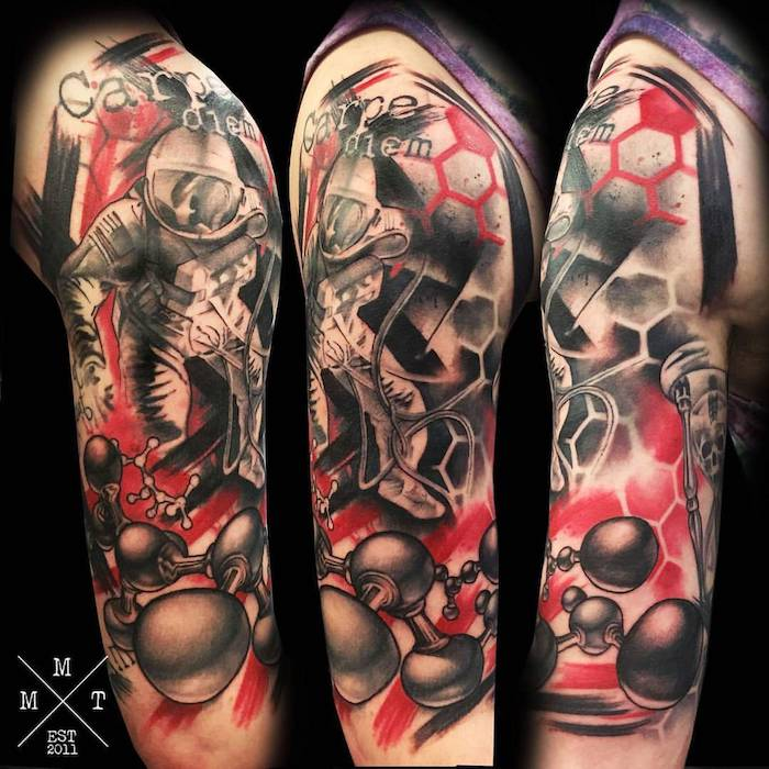realistic trash polka style tattoo three side by side photos of astronaut in space carpe diem written half sleeve tattoo