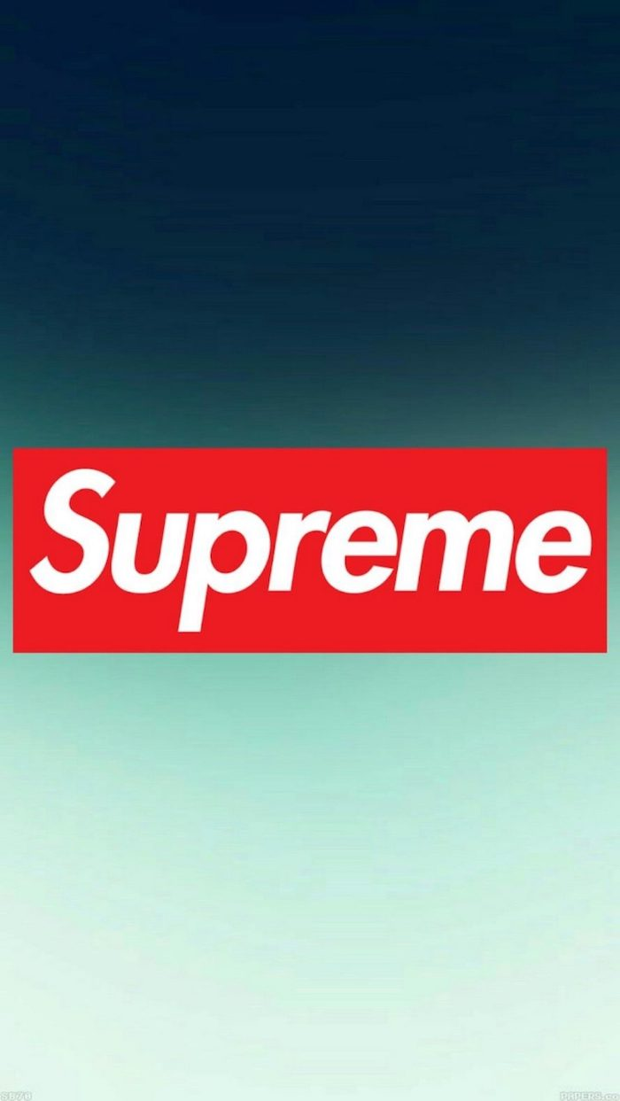 red and white supreme logo at the center black supreme wallpaper ombre blue and turquoise background