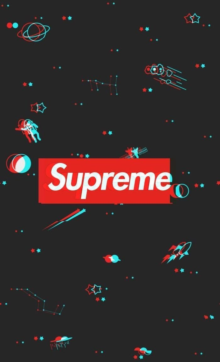 red and white supreme logo at the center cool hypebeast wallpapers black background with drawings of planets shooting stars satellites and astronauts