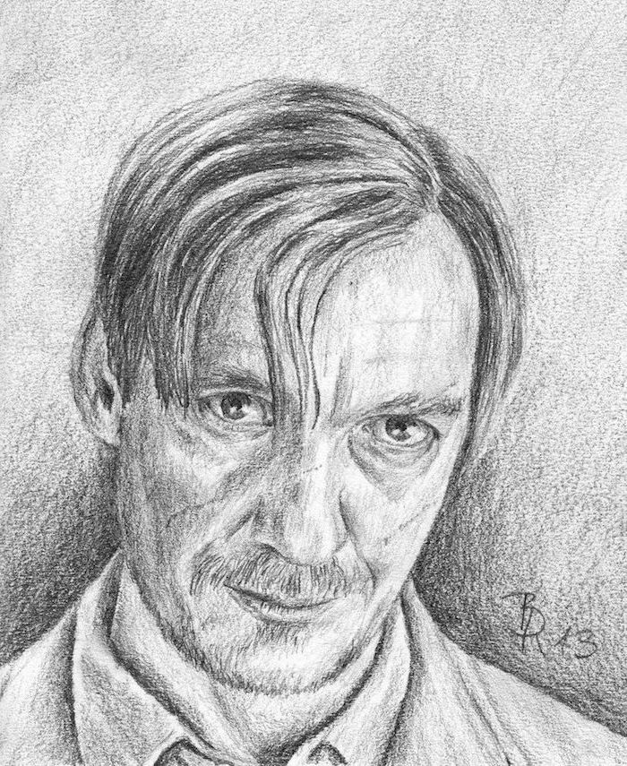 black and white pencil drawing, remus lupin, how to draw harry potter characters