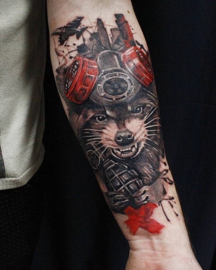 rocket racoon from guardians of the galaxy white trash tattoo ideas forearm tattoo in black and red