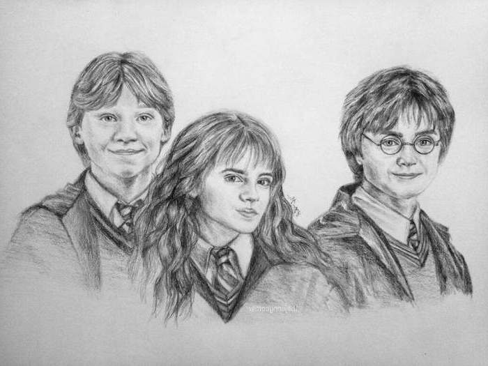 ron weasley, hermione granger, harry potter, how to draw harry potter characters, portrait drawing, black and white pencil drawing