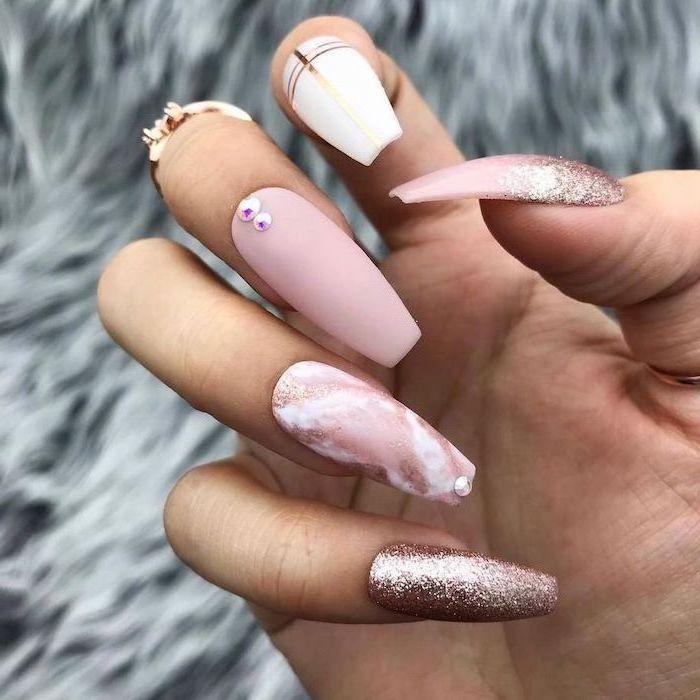 rose gold glitter nail polish, pink matte and marble nail polish, summer coffin nails, long coffin nails