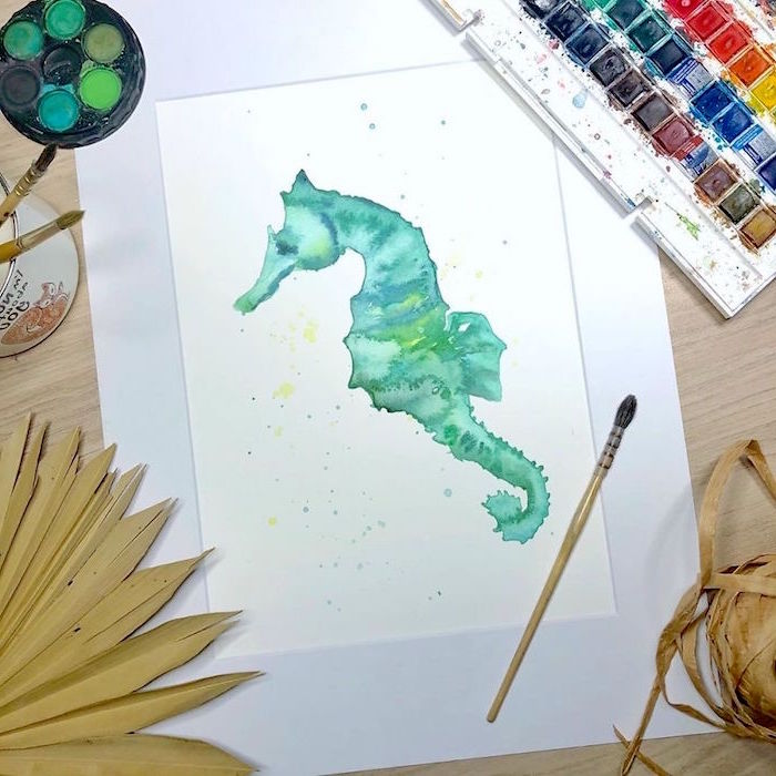 painting of a sea horse, painted in turquoise, simple watercolor ideas, painted on white background