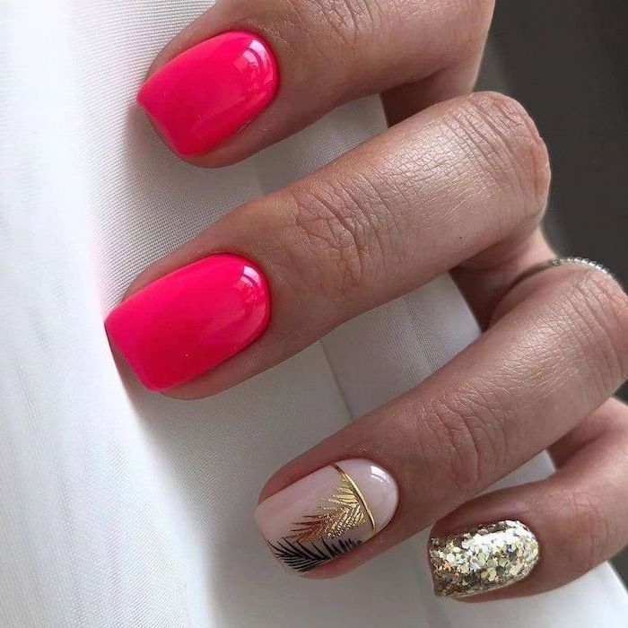 pink and nude nail polish, gold glitter nail polish, gold feathers decorations, summer coffin nails