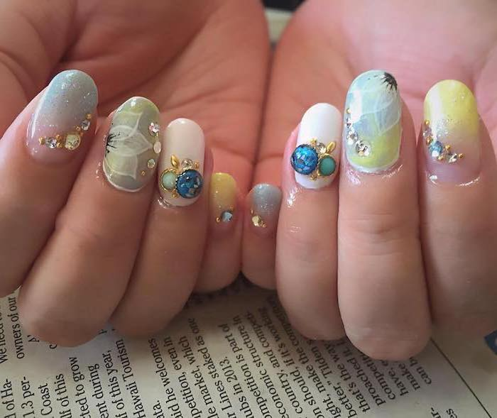 short squoval nails, decorated with different colors, vacation nails, decorations with rhinestones, ombre nails