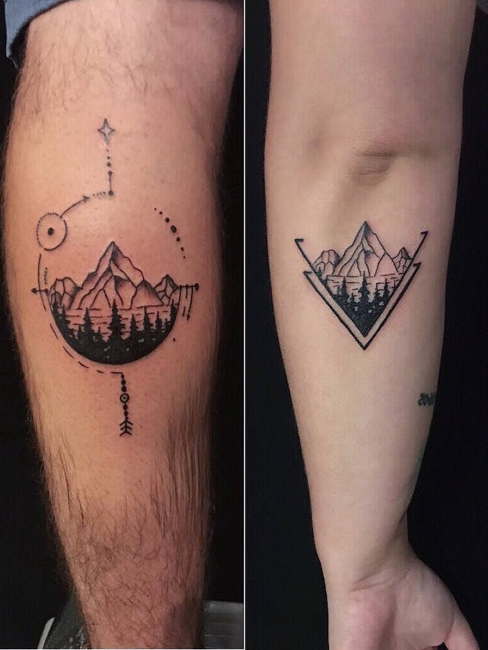 side by side photos of matching back of arm tattoos twin tattoos mountain landscape with lake and forest