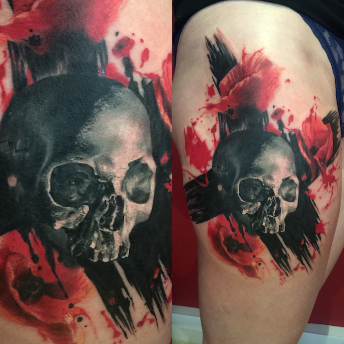 side by side photos of skull with large x behind it surrounded by red flowers trash polka sleeve thigh tattoo