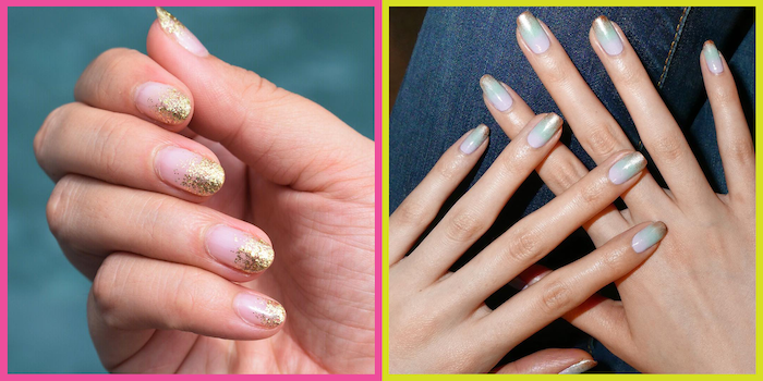two side by side photos, medium length almond nails, vacation nails, ombre nails, gold glitter nail polish